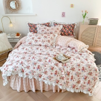Buy cheap WISJOY 2021 4 In 1Floral 100% cotton Bedding Sets Pink Princess Flowers Ins Style Lace A&B Single Queen King Sheet Sets from wholesalers