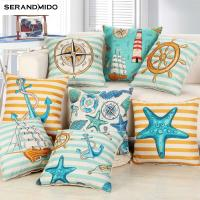 Buy cheap Marine style Blue Sea Printed Cushion Cover Cotton Linen Coral Anchor Throw Pillow Case Decorative Car Chair Pillowcases from wholesalers