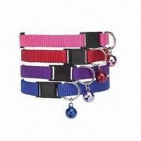 Wholesale Adjustable Nylon Kitty/Cat Collar, Customized Logos are Welcome, Available in Four Colors from china suppliers