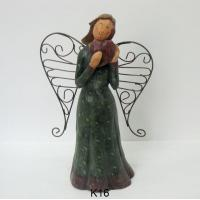 Wholesale Red Heart Metal Wings Angel Figurines / Smiling Fairy Garden Ornaments from china suppliers