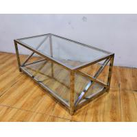 Buy cheap Polished Silver Stainless Steel Frame Tempered glass top Coffee table from wholesalers