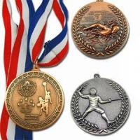 Buy cheap Sports meeting colorful ribbon Zinc alloy Custom Medals for Souvenir gifts from wholesalers