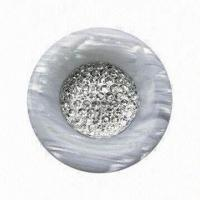 Buy cheap Resin Button, Made of Polyester with White Resin Bead from wholesalers