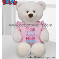 Buy cheap White Plush Teddy Bear Toy with Pink Dressing as Mother's Day Gift from wholesalers