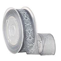 Buy cheap Custom Ink Screen White Print Grey Sheer Ribbon for Gifts Packaging from wholesalers