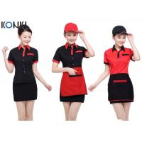 Buy cheap Red And Black Color Restaurant Shirts Uniforms For Waitresses from wholesalers
