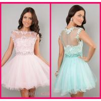 Buy cheap Lace Scoop Short Long Homecoming Dresses Pink Appliques Evening Party Gowns from wholesalers