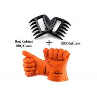 Wholesale Durable Heat Resistant Personalised BBQ Silicone Gloves With Shredder Handlers Fork from china suppliers