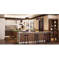Wood Grain White Color Pvc Kitchen Furniture Integrated U - Shaped With Island Manufactures
