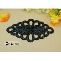 Handemade Black Rhinestone Beaded Applique For Wedding Dresses