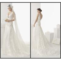V-Neck Sweep Train Womens Wedding Dresses / Sexy Wedding Gowns Manufactures
