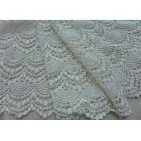 Buy cheap Vintage French Crocheted Cotton Lace Fabric Scalloped Edge Hollow Out Ivory Dots from wholesalers