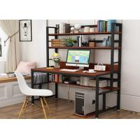 Buy cheap Office desktop laptop computer desk with shelves, Home study writing table with storage shelves from wholesalers