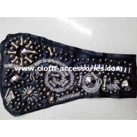 Wholesale Ladies Kurta Glass Beaded Trimmings / Gunmetal Beaded Collar Applique from china suppliers