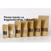 Buy cheap Kraft Paper Bags, Zip Lock Stand-up Reusable Sealing Food Pouches with Transparent Window and Tear Notch for Storing ,Co from wholesalers
