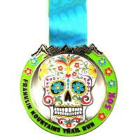 Wholesale Metals with ribbon , Custom Design Skull Shape with Flowers Plated Gold medal ,popular medals from china suppliers