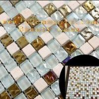 Buy cheap Electric Plating Mosaic Tiles Gold White Green Color from wholesalers