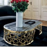 Buy cheap Luxury Oval Coffee Table Stainless Stain frame Artificial Marble Top for Living Room from wholesalers