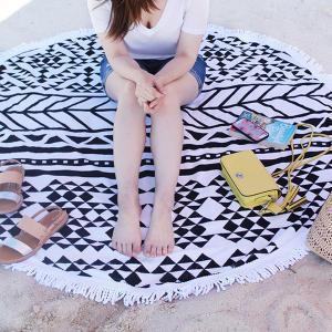 Big Size Microfiber Round Printed Tassel Beach Towel Cheap Beach Towel Summer beach  towel Manufactures