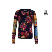 Open Cardigan Womens Crew Neck Sweaters Button Down With Flower Printing