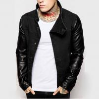 Buy cheap Stand Collar Leather Sleeve Mens Flight Jacket Cotton Denim Biker Jacket Breathable from wholesalers