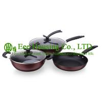 Buy cheap 3 pieces stainless steel cooking cookware including fry pan and soup pot and milK pot from wholesalers
