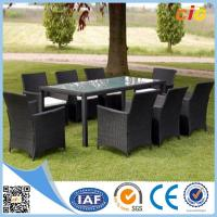 Handmade Wicker Dining Set 7pcs With Parasol Hole Outdoor Furnitures for Home Manufactures