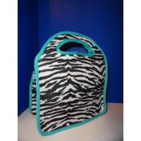 Wholesale Zebra-stripe Travel Neoprene Lunch Tote With Aqua Gusseted Sides , Lady Use from china suppliers