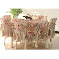 China Polyester cotton tablecloth and chair cover with Satin border, Peony design, on sale