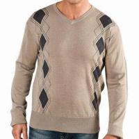 Buy cheap Men's Knitted Pullover with Fashion Intarsia Pattern, V-neck and Long Sleeves from wholesalers