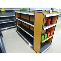 Buy cheap MDF Back Panel Grocery Display Racks Double Side Four Layers Yellow Wood Grain from wholesalers