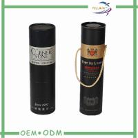 Buy cheap Custom Round Black  Wine Tube Gift Box Paper Packing Foil Stamp from wholesalers