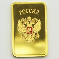 Buy cheap USSR Soviet National Emblem CCCP 24k Gold Plated Bullion Bar Russian Commemorative Souvenir Coin Metal Decoration Gift from wholesalers