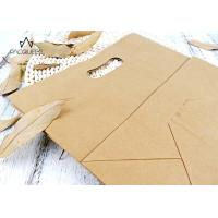Wholesale Reusable Takeaway Paper Bags Punched Handle White / Brown Kraft Paper from china suppliers