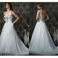 Buy cheap Beautiful Long Train Lace Sweetheart Wedding Gowns with Covered Button from wholesalers