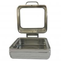 Buy cheap Mirror Finish Square Shape Banquet Chafing Dishes With Big Glass Lid For Hotel Supplies from wholesalers