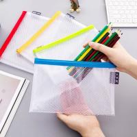 Buy cheap Clear Mesh Grid Reusable Ziplock Bags / Zipper File Bags For Office Supplies product