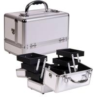 Wholesale Expandable ABS Aluminum Cosmetic Case , Professional Silver Makeup Casewith Trays from china suppliers