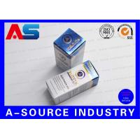 Buy cheap Customize Carton 10ml Vial Boxes Gold Foil Embossed Metalic Blue Color UV Matt Printing from wholesalers