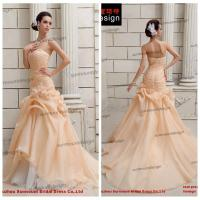Buy cheap Real Sample Off Shoulder Sweetheart Floor Length Organza Champagne Wedding Dress from wholesalers