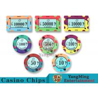 Buy cheap 40 / 43mm Diameter Ceramic Casino Chips Bright Colors With Custom Printed Design from wholesalers