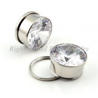 White Cubic Zircon Ear Flesh Tunnels 316L Steel High Polished For Party Manufactures
