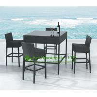 Buy cheap Outdoor Square Rattan Bar Table With Four Chairs,Durable and Eco-friendly Bistro 4 seaters from wholesalers