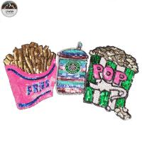 Buy cheap French Fries Large Sequin Patches , Popcorn Sequin Sew On Patches Customized Color from wholesalers