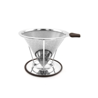 Buy cheap Coffee Straining Suit Silver Cone Single Cup Coffee Filter With Holder Micron Mesh Customzied from wholesalers