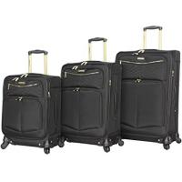 Buy cheap 3PCS Softside Black Spinner Suitcase Set With Reinforced Handle product