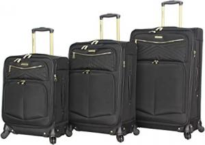 Wholesale 3PCS Softside Black Spinner Suitcase Set With Reinforced Handle from china suppliers