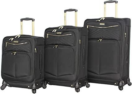 Buy cheap 3PCS Softside Black Spinner Suitcase Set With Reinforced Handle from wholesalers