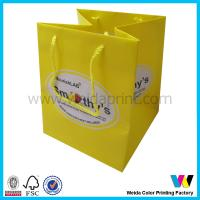 Buy cheap Yellow Custom Printed Paper Bags With Glossy Lamination PP String from wholesalers