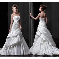 Buy cheap Sleeveless Satin Sweetheart Wedding Gowns with With Ruffles , Beaded Flower Applique from wholesalers